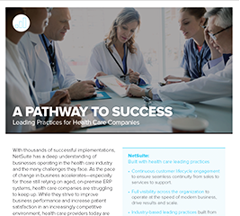A Pathway To Success: Leading Practices for health care companies